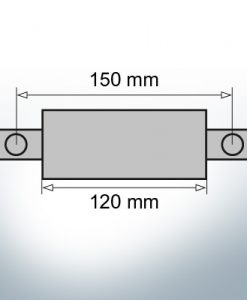 Anodes en bloc et de fuselage ovales L120/150 (Zinc)