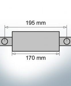 Anodes en bloc et de fuselage ovales L170/195 (Zinc)