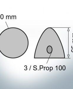 Écrous à trois trous | S.Prop 100 Ø60/H65 (Zinc)