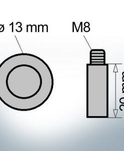 Anodes à ergot M8 Ø13/L20 (Zink)
