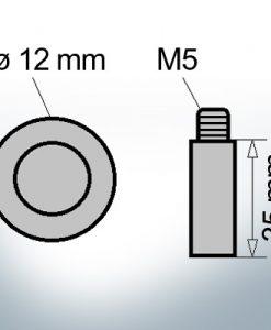 Anodes à ergot M5 Ø12/L35 (Zink)