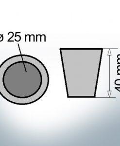 Anodes d'extréavecé d'arbre coniques avec coin 25 mm (Zink)