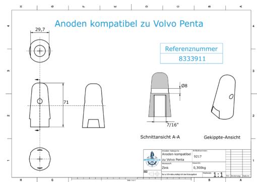 "Anodes compatible to Volvo Penta | Cap-Anode 7/16"" 833911 (Zinc) | 9217"
