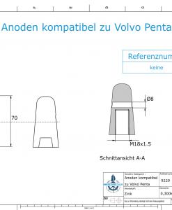 Anodes compatible to Volvo Penta | Cap-Anode M18x1,5 (Zinc) | 9229