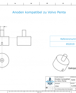 Anodes compatible to Volvo Penta | Bolt-Anode 14 x 22 M6 852019 (Zinc) | 9240