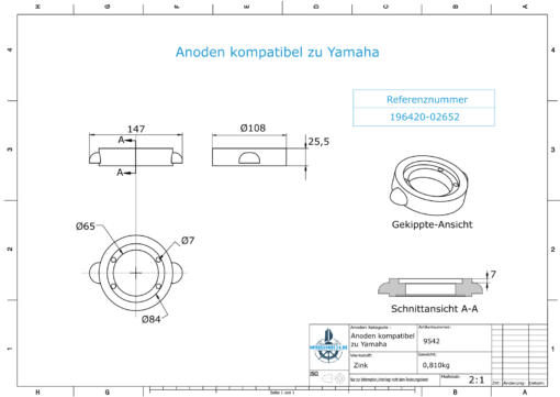Anodes compatible to Yamaha and Yanmar   Anode-Ring Yanmar 196420-02652 (Zinc)   9542
