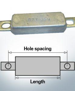 Anodes de bloc et de fuselage carrées L90/115 (Zinc) | 9301