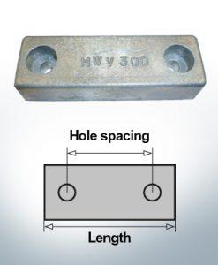 Bloc pour anodes en bloc et de fuselage L120/62 (Zinc) | 9315