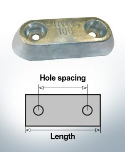 Bloc pour anodes en bloc et de fuselage L150/80 (AlZn5In) | 9326AL