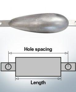 Anodes de bloc et de fuselage ovale L250/285 (Zinc) | 9308