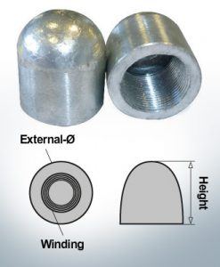 Écrous borgnes M30x1,5 Ø45/H40 (Zinc) | 9403