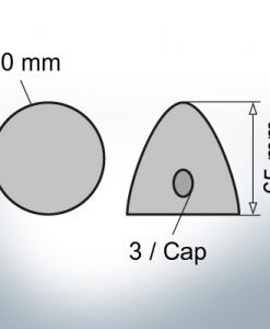 Three-Hole-Caps Ø50/H65 (Zinc) | 9406