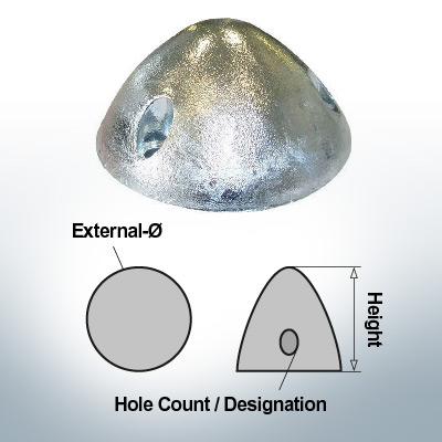 Écrous à trois trous   convient pour DF-107 Ø78/H36 (Zinc)   9409