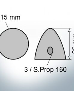 Three-Hole-Caps | Prowell Sailprop 160 Ø115/H95 (Zinc) | 9411