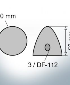 Three-Hole-Caps | suitable for DF-112 Ø90/H53 (AlZn5In) | 9412AL