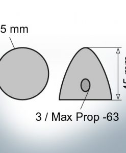Three-Hole-Caps | Max Prop -63 Ø65/H45 (Zinc) | 9600
