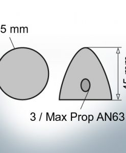 Three-Hole-Caps | Max Prop AN63 Ø65/H45 (Zinc) | 9606