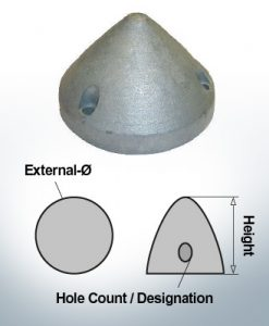 Écrous à trois trous | Max Prop AN63 Ø65/H45 (AlZn5In) | 9606AL