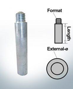 Anodes à ergot M10 broche Ø15/L100 (Zinc) | 9154