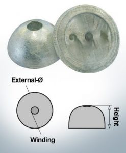 Écrous à un trou | convient pour VP-64 Ø55/H22 (Zinc) | 9451