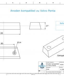 Anodes compatible to Volvo Penta | Block-Anode 290 / Duo-Prop 852835 (Zinc) | 9204