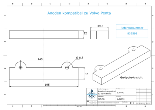 Anodes compatible to Volvo Penta | Block-Anode 250/270/280 832598 (AlZn5In) | 9207AL