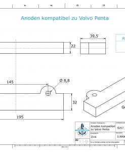 Anodes compatible to Volvo Penta   Block-Anode 250/270/280 832598 (Zinc)   9207