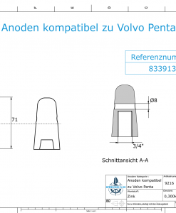 Anodes compatible to Volvo Penta   Cap-Anode 3/4