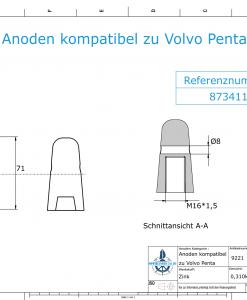 Anodes compatible to Volvo Penta | Cap-Anode M16x1,5 873411 (Zinc) | 9221
