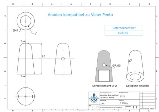 "Anodes compatible to Volvo Penta   Cap-Anode 1"" 828140 (Zinc)   9222"