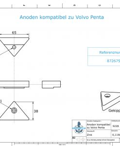 Anodes compatible to Volvo Penta | Lenkgabelanode 872675 (Zinc) | 9228