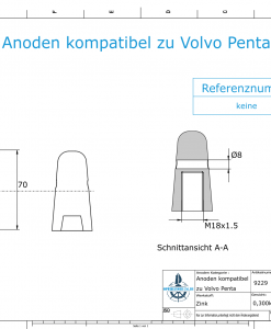 Anodes compatible to Volvo Penta   Cap-Anode M18x1,5 (Zinc)   9229