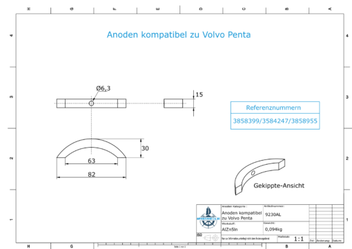Anodes compatible to Volvo Penta | Propeller-Anode (kit/3 parts) | 3858399 | 3584247 | 3858955 | (AlZn5In) | 9230AL