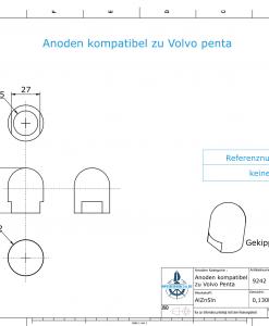 Anodes compatible to Volvo Penta | Cap-Anode M18x1,5 short (Zinc) | 9242