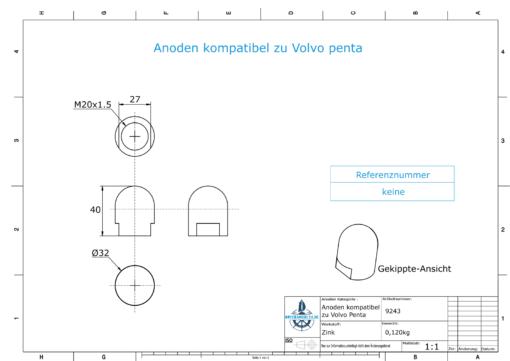 Anodes compatible to Volvo Penta   Cap-Anode M20x1,5 short (Zinc)   9243