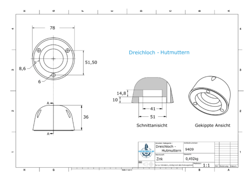 Three-Hole-Caps | suitable for DF-107 Ø78/H36 (Zink) | 9409