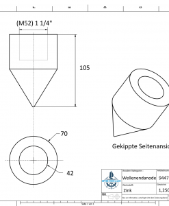 Conical Shaftend-Anode 1 1/4'' Rohr (Zinc) | 9447