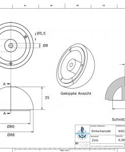 One-Hole-Caps   suitable for VP-104 Ø88/H35 (Zinc)   9453