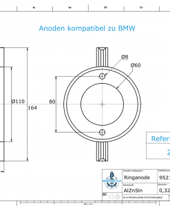 Anodes compatible to BMW | Ringanode 287378 (AlZn5In) | 9521AL