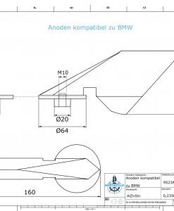 Anodes compatible to BMW   Trimmanode groß 9650202365 (AlZn5In)   9523AL