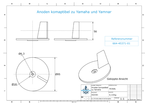 Anodes compatible to Yamaha and Yanmar | Trim-Tab-Anode 40PS 664-45371-01 (AlZn5In) | 9536AL