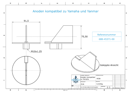 Anodes compatible to Yamaha and Yanmar   Trim-Tab-Anode 85PS 688-45371-00 (Zinc)   9538