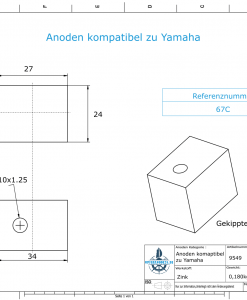 Anodes compatible to Yamaha and Yanmar   Anode-Block 40-50PS 67C (Zinc)   9549
