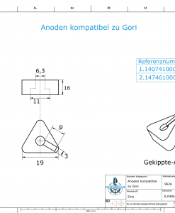 Anodes compatible to Gori | Bow-Thruster-Anode 22