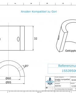 Anodes compatible to Gori   3-blade Saildrive, Ref.: 1553950000 18