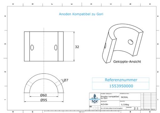 """Anodes compatible to Gori   3-blade Saildrive, Ref.: 1553950000 18""""-20"""" (AlZn5In)   9630AL"""