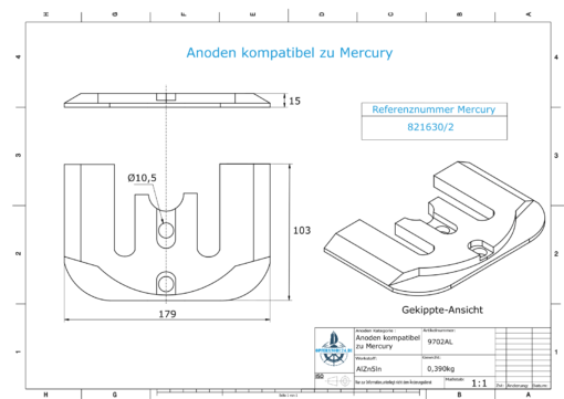 Anodes compatible to Mercury | Anode-Plate 1 2 821630 (AlZn5In) | 9702AL