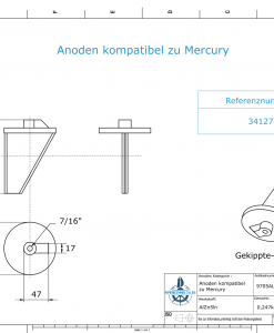 Anodes compatible to Mercury   Trim-Tab-Anode long 34127 (AlZn5In)   9705AL