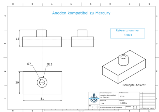 Anodes compatible to Mercury   Anode-Plate 85824 (Zinc)   9710