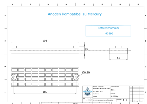 Anodes compatible to Mercury | Grid-Anode 43396 (Zinc) | 9711